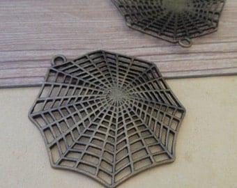 3pcs Antique bronze web pendant charm 55mm