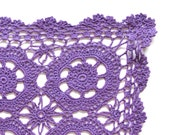 Purple rectangular Crochet Doily hand dyed vintage Doily