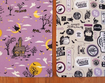 Halloween Placemats with Witches, Ghosts, Jack o' Lanterns, Owls, Pumpkins and Black Cats in Purple and Black, Deena Rutter Happy Haunting