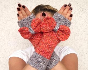 Fingerless gloves with knitted bow, Mittens Gray orange. Arm Warmers, orange wrist warmer, hand warmer,bow glove