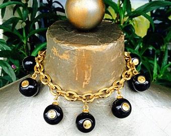 Vintage 1980s designer runway huge ball choker eight ball chanel carolee statement necklace