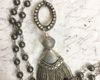Bohemian Sari Silk Tassel Necklace in Gray with Beaded Rosary style Chain Wire Wrapped silver plated Chain 4mm clear gray beads