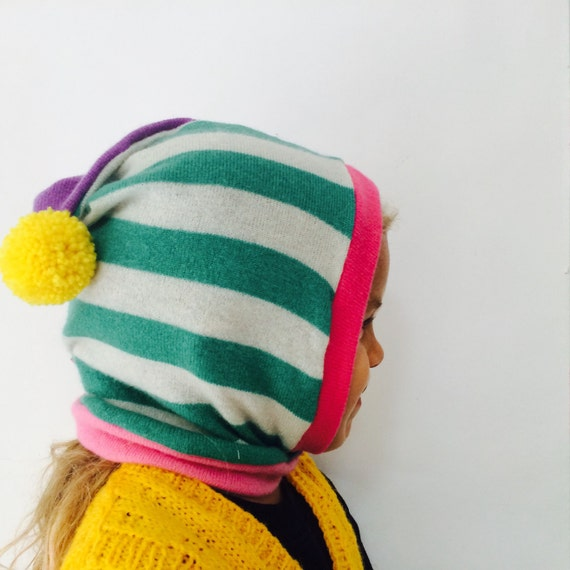 DIZZY 1-3 Years Cashmere Kids Hat Balaclava Toddler Childrens Bobble Hat Snood Hoodie Upcycled Cashmere Pom Pom Unisex