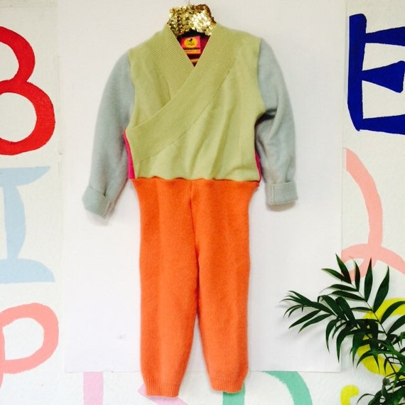 TIPTOE 2-3 Years Kids Cashmere Suit Childrens Onesie Jumpsuit One Piece Jumper Romper Playsuit Upcycled Cashmere Unisex