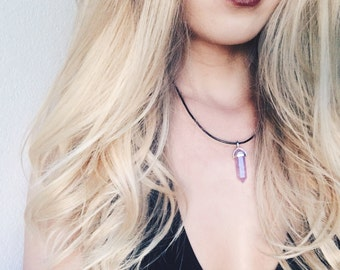 Amethyst quartz crystal necklace, quartz, healing stone, boho, adjustable