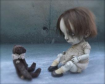 Giclee Fine Art Print. Dark Alley BJD Art Doll. Child Doll. Girl Doll.