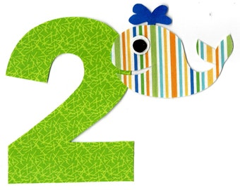 DIY iron on number applique pick any number plus whale - birthday, anytime