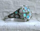 Gorgeous Vintage Opal and Tsavorite Platinum Ring Engagement Ring.