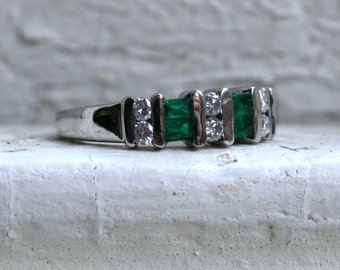 Great Vintage Channel 14K White Gold Diamond and Emerald Wedding Band.