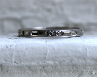 Sweet Hand Etched Antique 18K White Gold Wedding Band by Lohengrin.