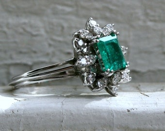 RESERVED - Beautiful Vintage 14K White Gold Diamond and Emerald Ring Halo Ring - 1.97ct.