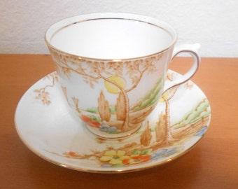 Vintage Bone China English Teacup and Saucer Royal York with Tree Scene Tea Cup and Saucer