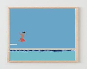 Fine Art Print.  Boy Jumping off Diving Board into Swimming Pool. July 13, 2015.