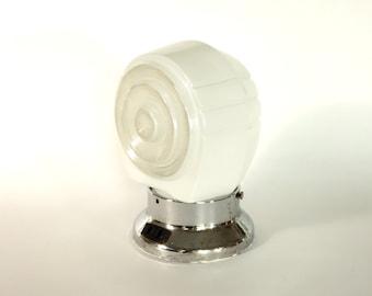 Art Deco Light Fixture Milk Glass Shade Vintage Frosted Globe Bathroom Salvage