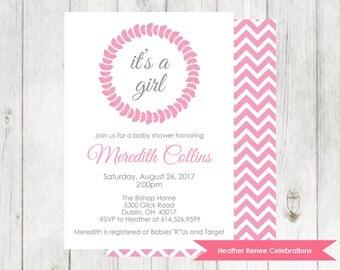 Baby Girl Shower Invitation | Printable Chevron Baby Shower Invitation | Baby Sprinkle Invite