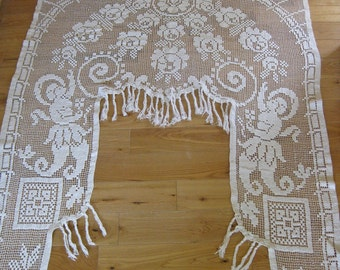 French door curtain stunning crochet lace portiere cantonniere with fringing