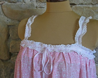 Pink cotton nightdress with cream broderie anglaise trim and straps