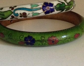2 hand painted enamel and brass bangles