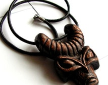 Wooden head Hand carved pendant Mens jewelry mask tribal pagan