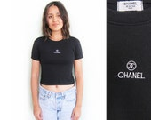 vintage t shirt / Chanel / crop top / 1990s embroidered Chanel black crop top t shirt Small