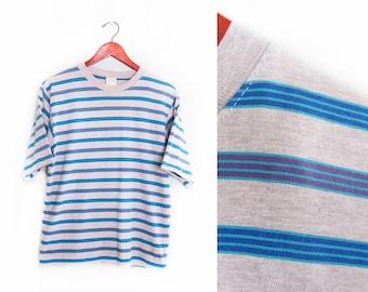 vintage t shirt / striped / oversize / grunge / 1990s grey multi striped oversize t shirt Small