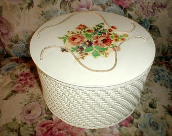 Vintage Decoupage Sewing Basket/Box *Full Of Sewing Notions* Country Cottage!