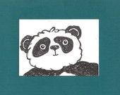 ACEO,  ATC, Panda Bear, Art Trading Card, Hand Drawn, Kid Friendly, Black and White, Animal,