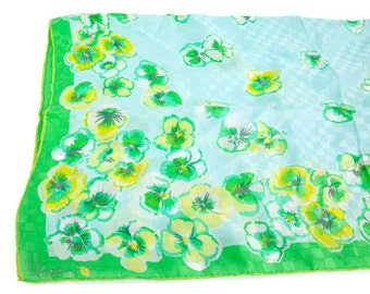 Vintage VERA All Silk Scarf Green Yellow Citrus Colors Floral Ladybug Logo Handrolled Headwrap Shawl Made in Japan
