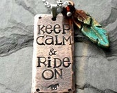 Handstamped Horse Necklace-Rustic Necklace-Equestrian-Keep Calm & Ride On-Pendant Necklace-Rustic Mixed Metals