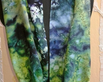 Ice Dyed Rayon Infinity Circular Scarf in Lime, Sapphire Blue, Midnight Blue, Forest Green, Emerald Green, Deep Purple and Black