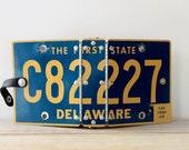 Recycled Delaware license plate vintage journal / on the road journal / road trip diary / retro repurposed mini binder / metal cover binder