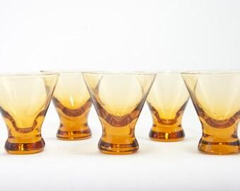 Vintage Amber Cocktail Martini Glasses (5), Vintage Bar Ware