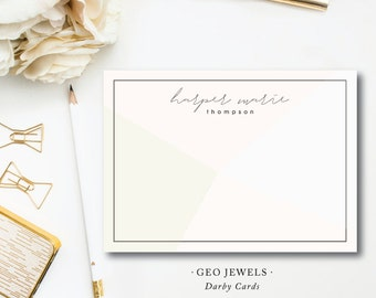 Modern Art Geo Jewels Stationery Notes | Flat A6 Stationery Flat Notes with Blank Envelopes | Printed by Darby Cards Collective