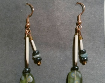 Handmade Porcupine Quill Earrings With Czech Beads Made in Alaska