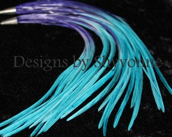 Purple/Turquoise Fade Ombre Feather Earrings