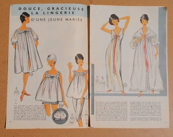 Vintage French Magazine Booklet Pages - 1960's  Fashion Sewing