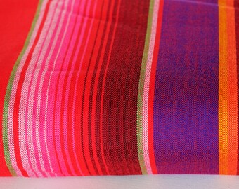 "Mexican Sarape fabric Red. 72"" width by one yard"