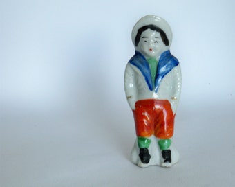 Bisque Hand Painted Boy Ornament