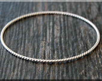 Sterling Silver Twisted Bangle, Twisted Solid Sterling Bangle Bracelet, Stacking Bangle Bracelet, Thick Sterling Silver Bangle