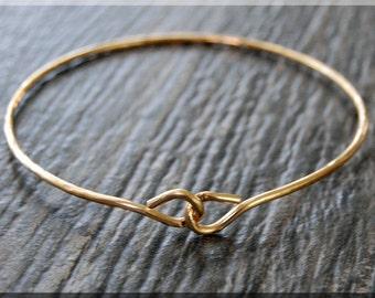 Simple Hammered Bangle bracelet, Gold, Brass, bracelet, Brass Bangle, Gold brass bangle, Knot Bangle, stacking bangle, stacking bracelet