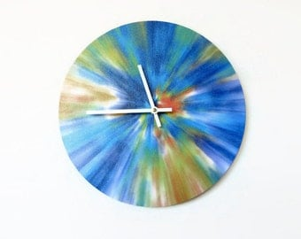 Tie Dye, Retro Wall Clock, Glitter Clock,  Home and Living,  Decor and Housewares, Home Decor