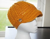 mustard yellow crochet adult brim hat