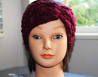 garnet red crochet headband hand dyed - hand spun merino wool