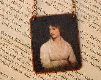 Mary Wollstonecraft necklace Literature jewelry feminist mixed media jewelry