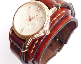 Vintage Womens Watches, Vintage Leather Watch, Brown Leather Watch