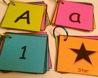 Preschool/Kindergarten, Flash Cards, Laminated: Alphabet Letters, Numbers, Shapes - Ring, Preschool Teacher, Kindergarten Teacher, Autism