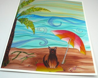 Colorful art print. Dog on beach with palm tree and umbrella