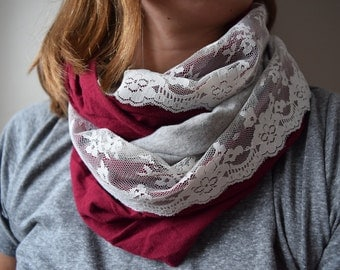 Cranberry and Grey Jersery Infinity Scarf with Cream Lace