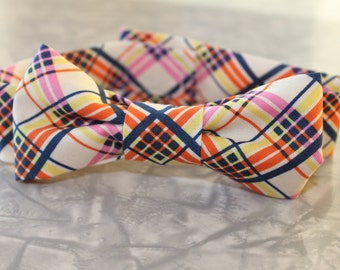 Blue, Orange, Yellow & Pink Plaid Infant/Baby/Toddler Bow Tie and/or Suspenders- Great Photo Prop, Cute for Weddings, Cake Smashing