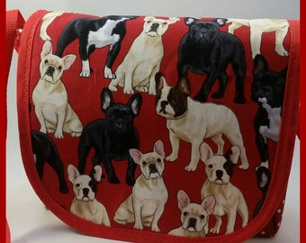 Red French Bulldogs Mini Messenger Bag